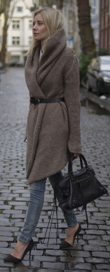 Cinto com tricô post cinto com casaco Trendy Store